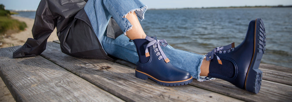 zina rain boot navy grosgrain waterproof