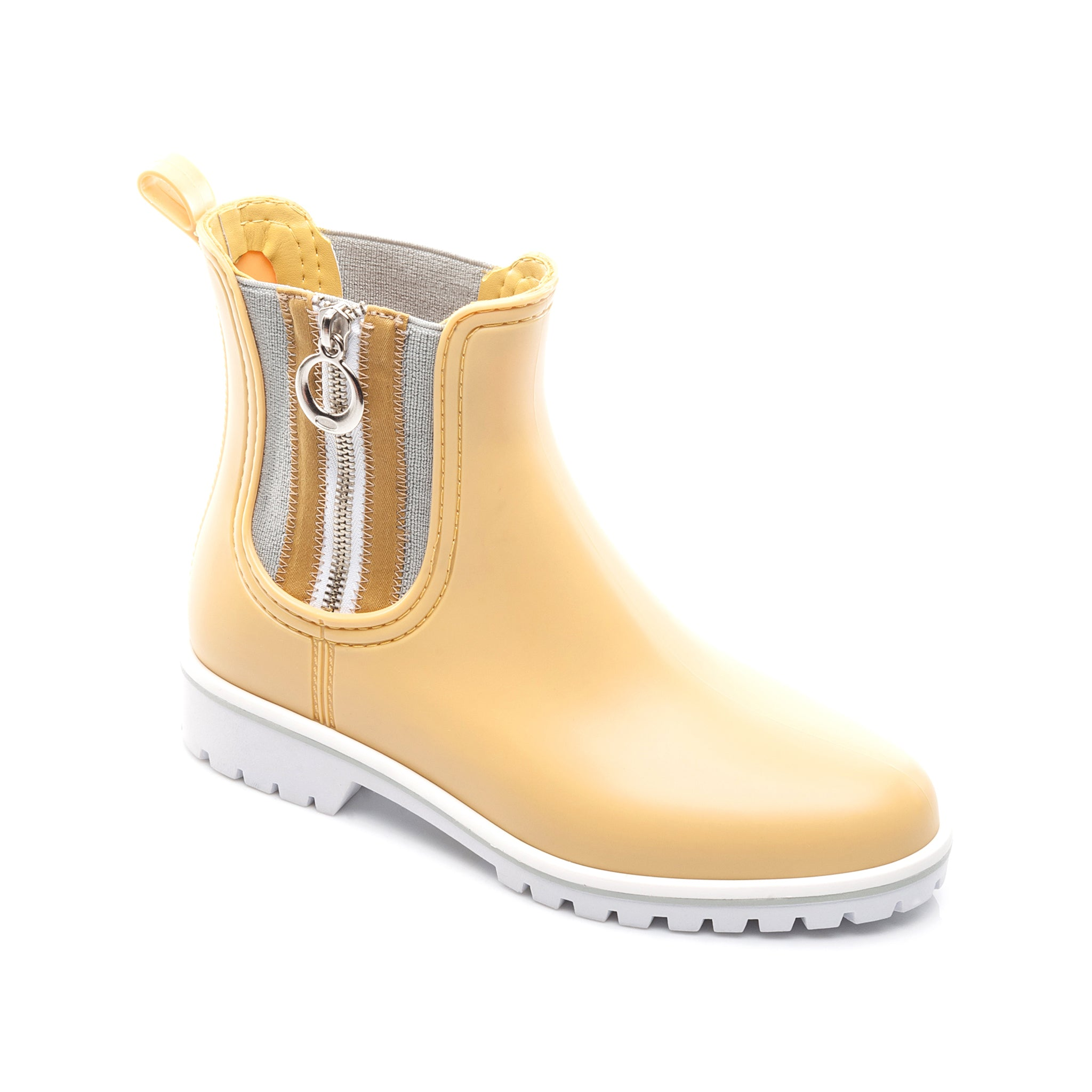 Short yellow rain boots with side zipper