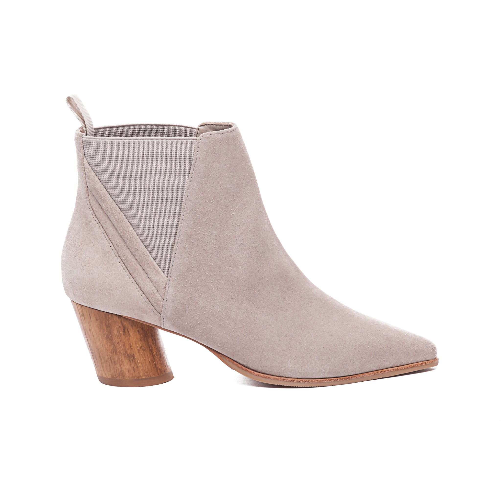 clay colored Ferris ankle boot with a wood heel