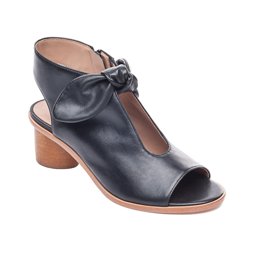 Luna Wooden Heel Sandal in Black Glove