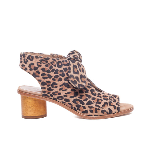 Luna Wooden Heel Sandal in Cheetah Suede