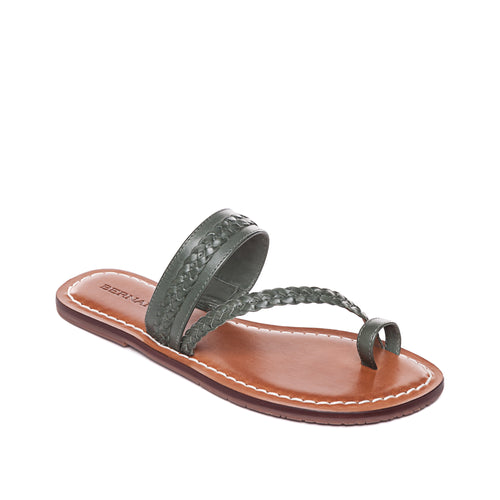 Maeve leather sandal by Bernardo 1946 in the color Military.