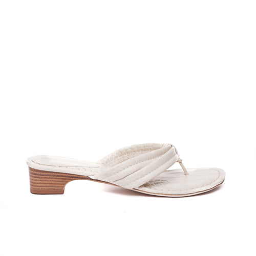 side view of Miami demi wedge in eggshell leather