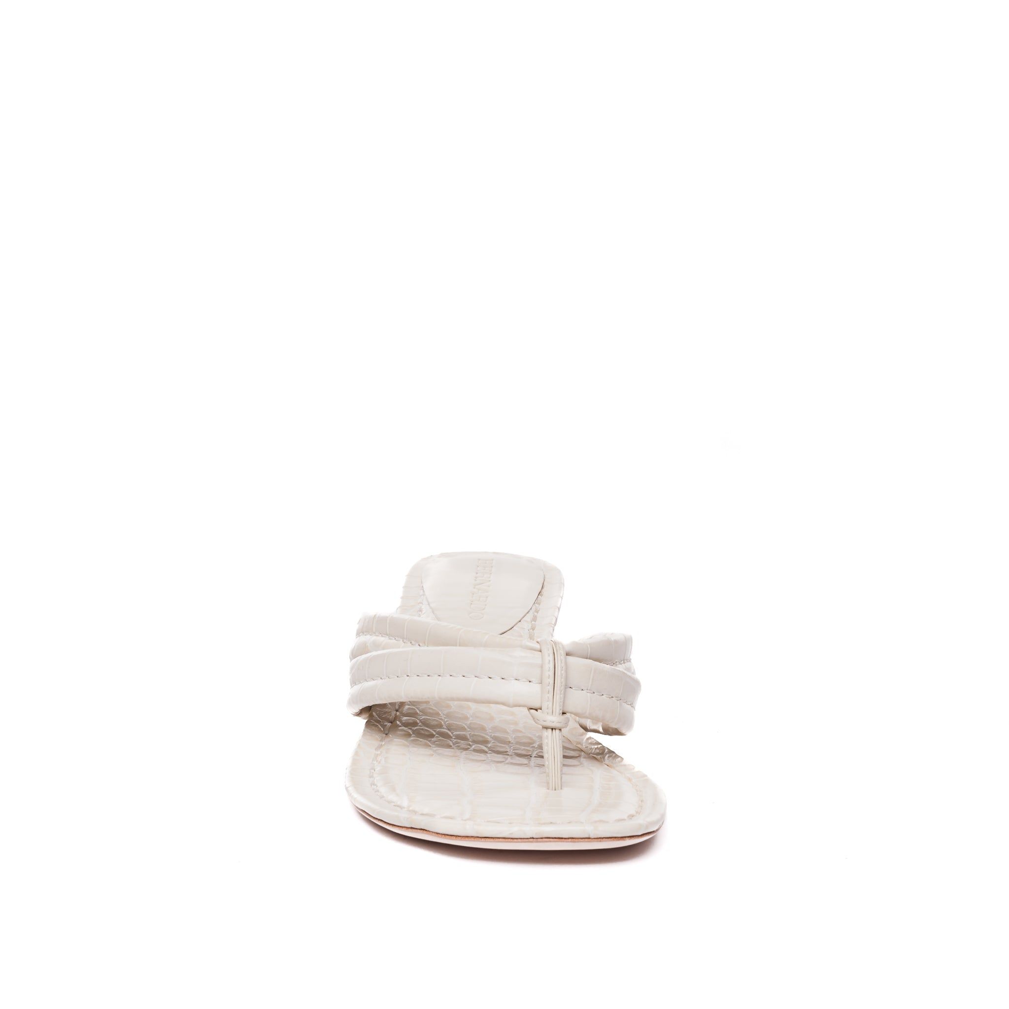front view of Miami demi wedge sandal in eggshell leather