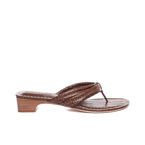 side view of Miami demi wedge in tobacco leather