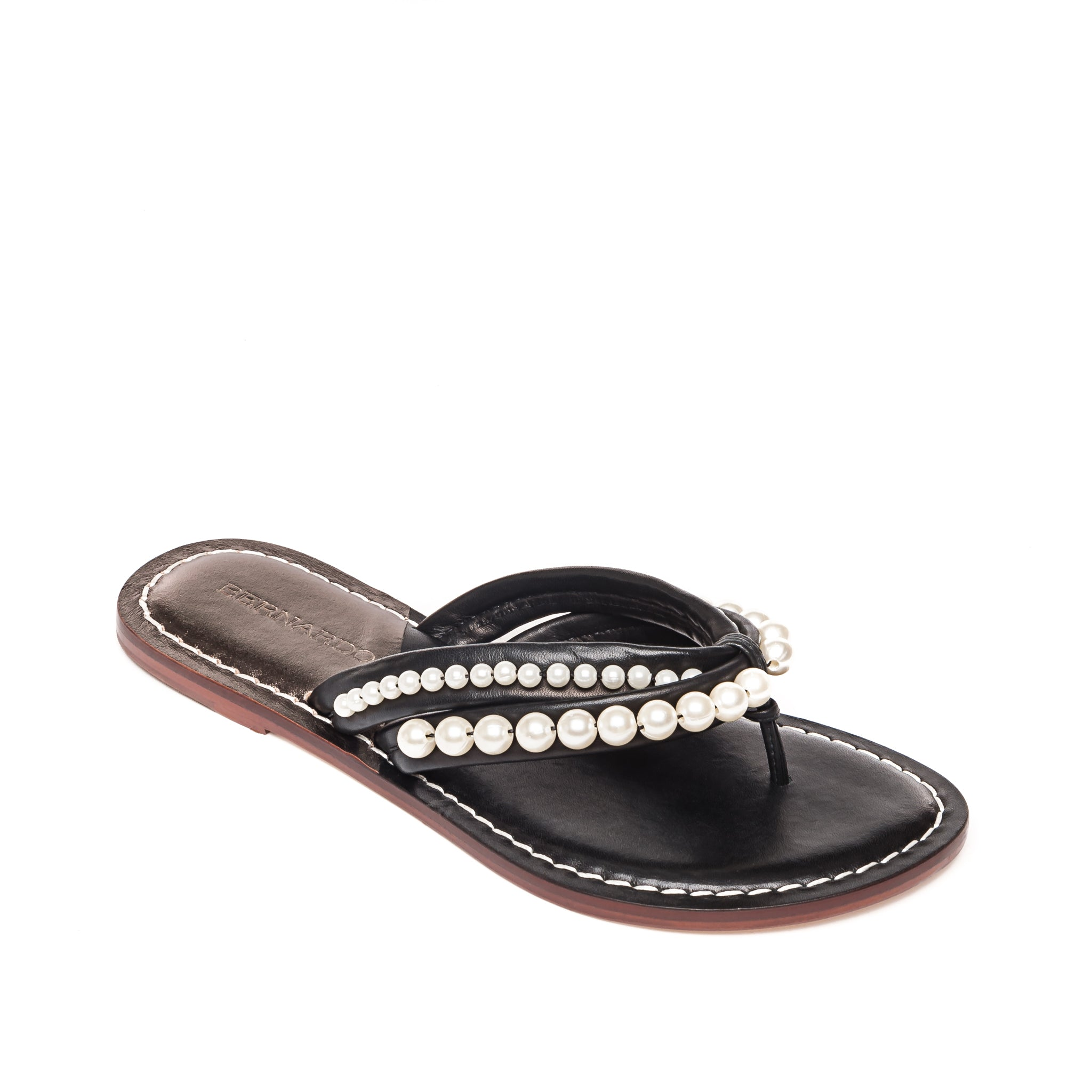 photo of Bernardo 1946's Miami pearl embellished 2 strap sandal, in black leather.