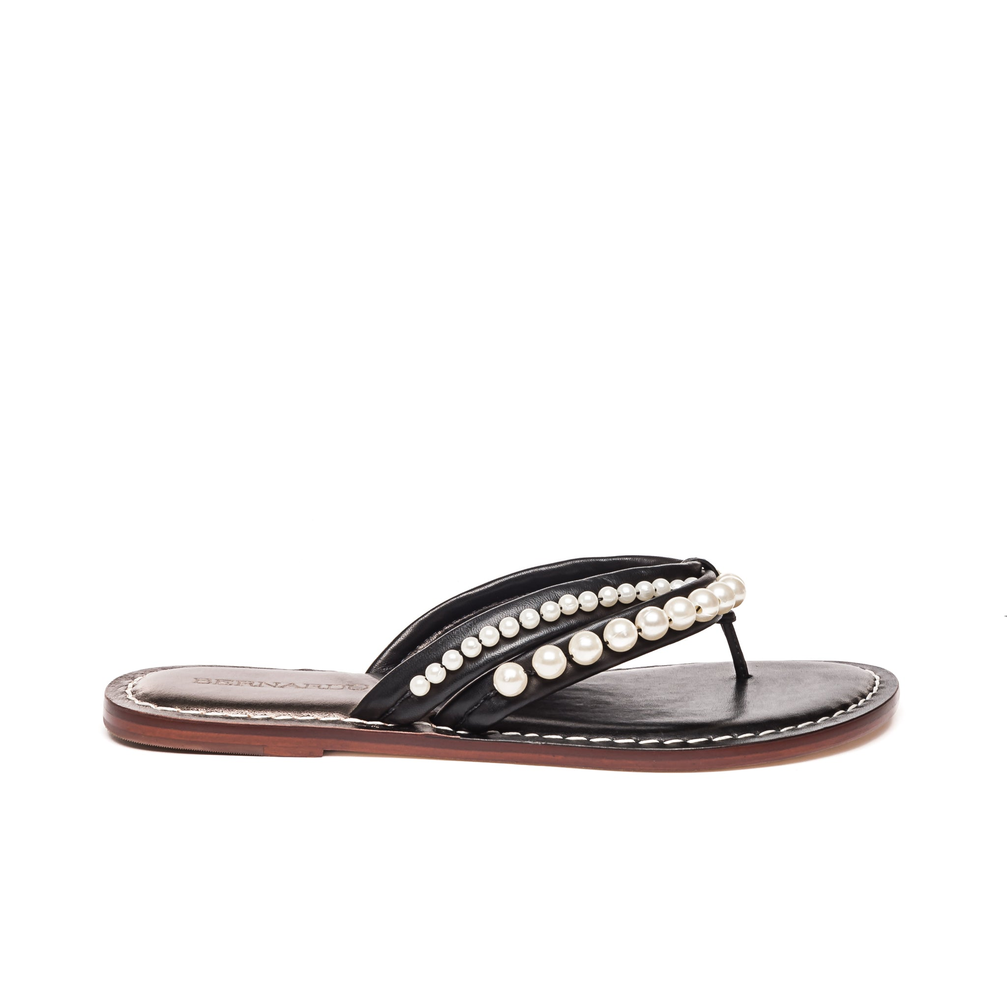 Side photo of Bernardo 1946's Miami pearl embellished 2 strap sandal, in black leather.