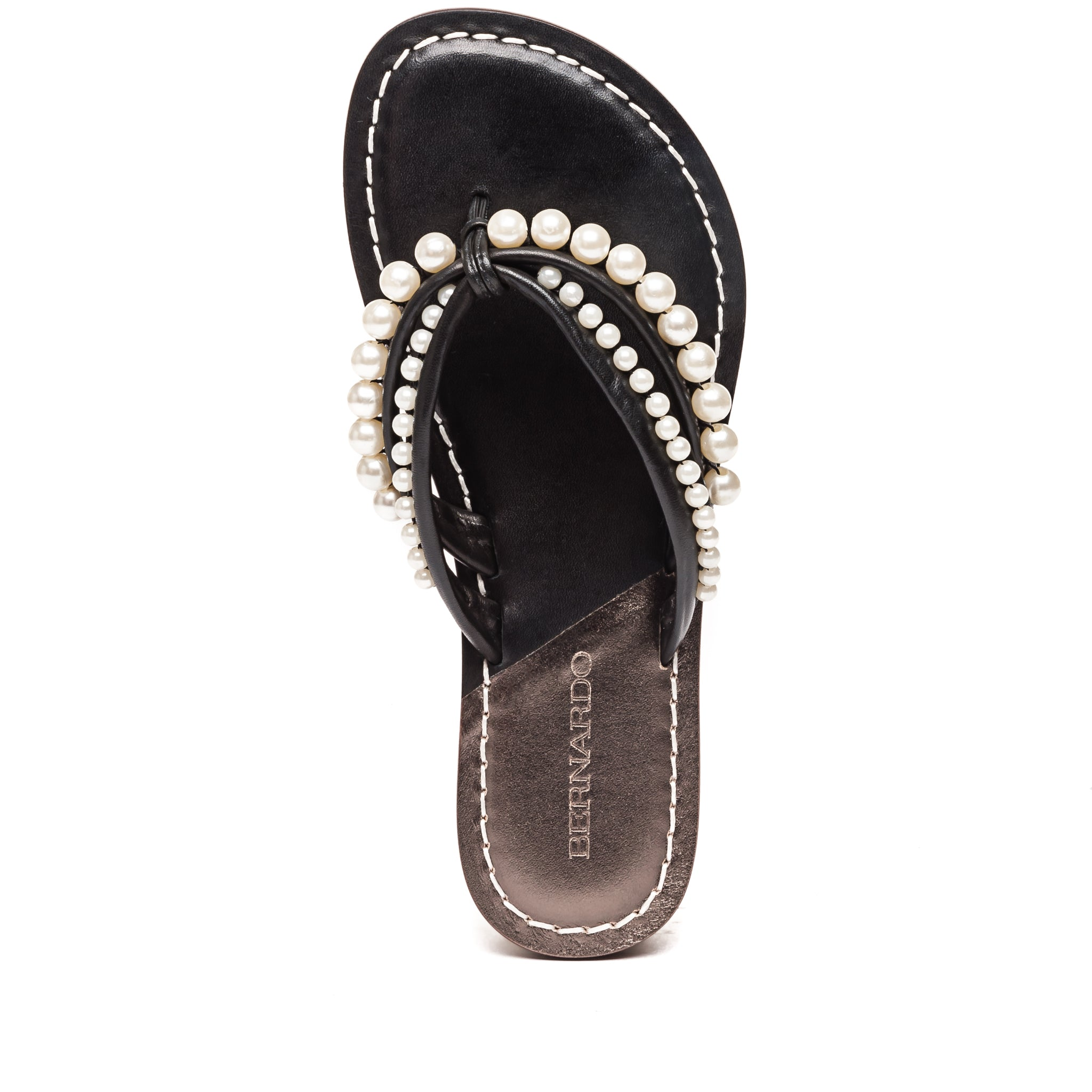 Top photo of Bernardo 1946's Miami pearl embellished 2 strap sandal, in black leather.