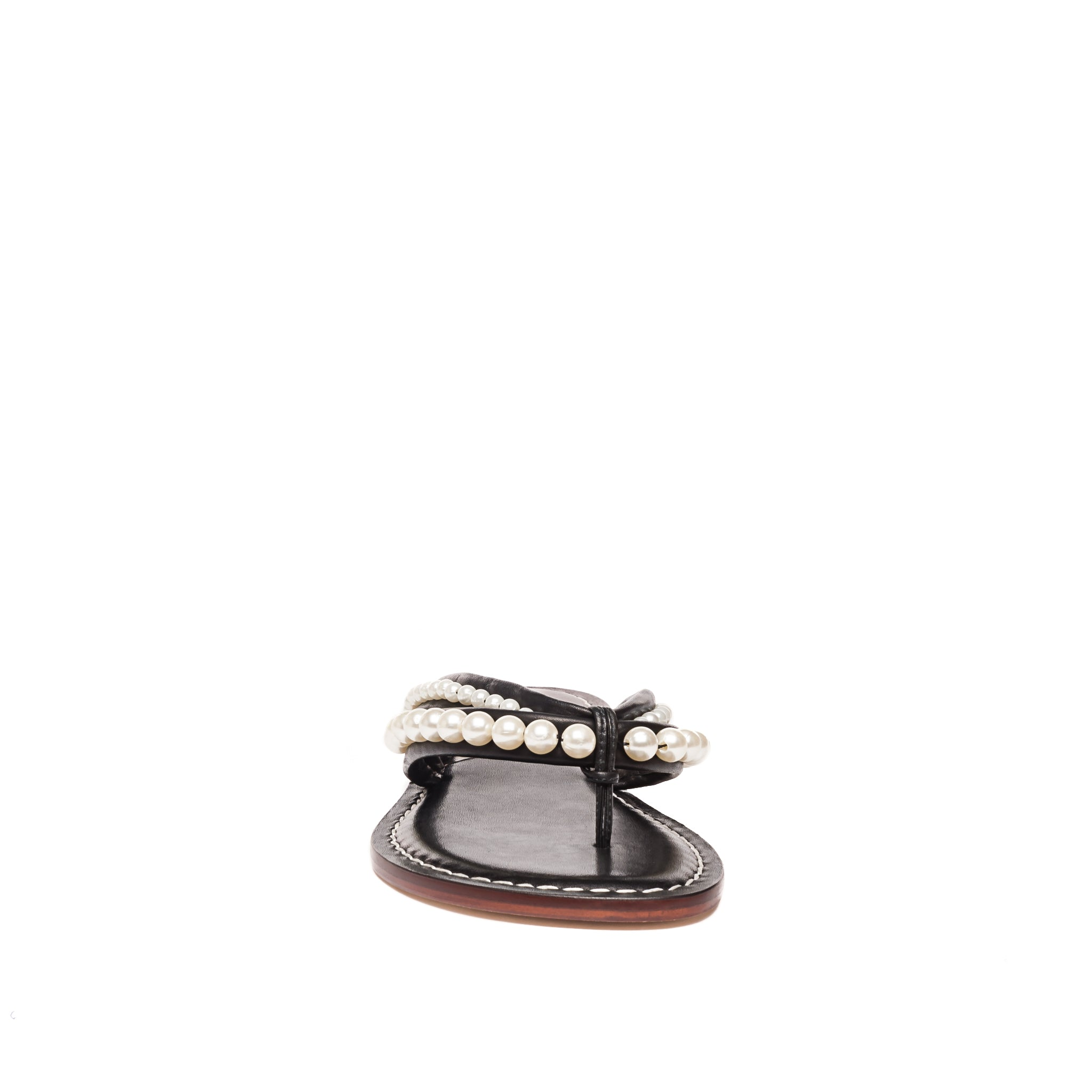 Front photo of Bernardo 1946's Miami pearl embellished 2 strap sandal, in black leather.