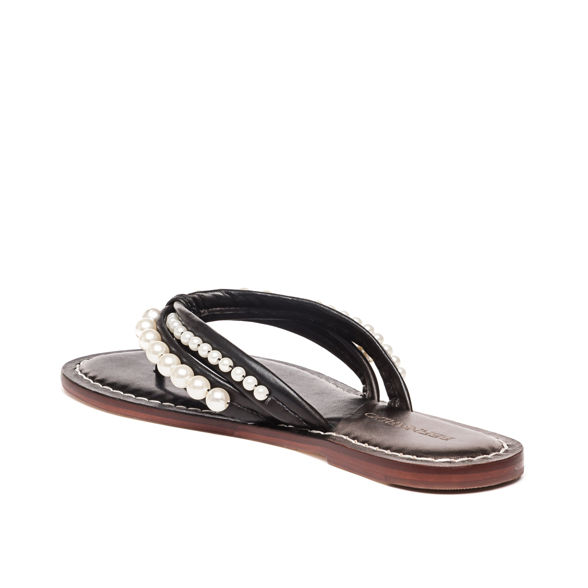 Back/side photo of Bernardo 1946's Miami pearl embellished 2 strap sandal, in black leather.