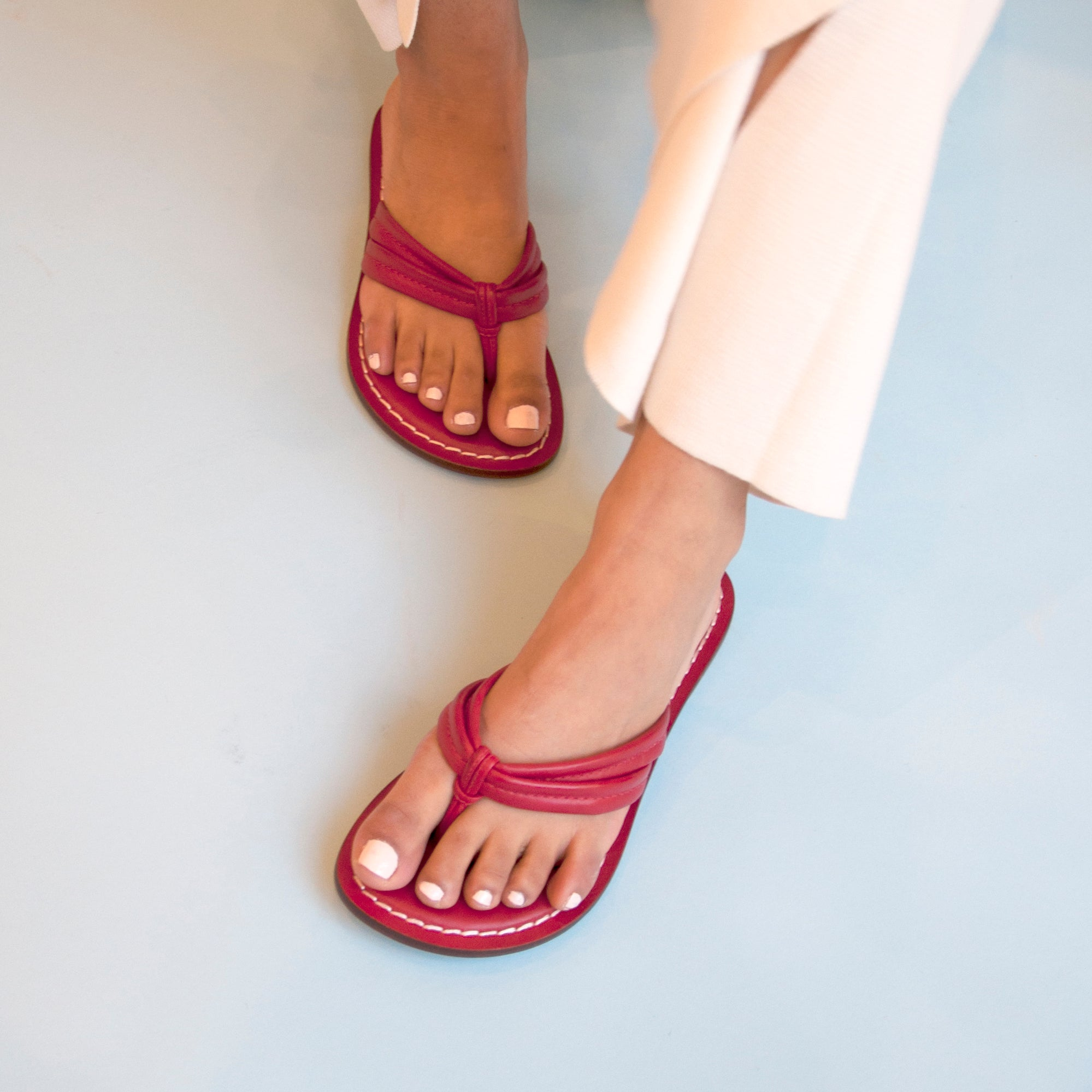 6fe7d1bfeecb Miami Double Strap Thong Sandal in Red Leather – Bernardo 1946