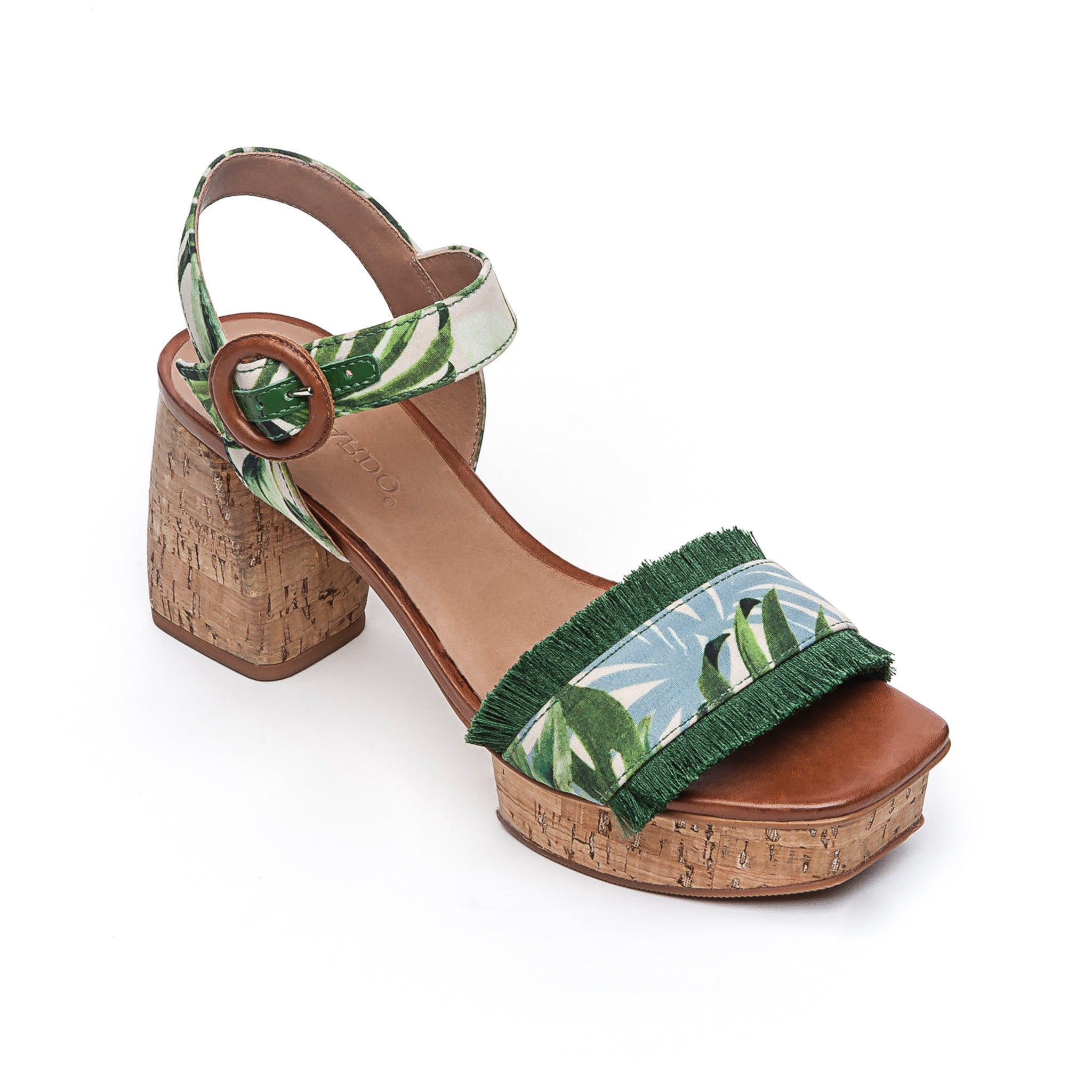 e2fb6c2ca3e Reagan Platform Sandal with Ankle Strap in Palm Fabric – Bernardo 1946
