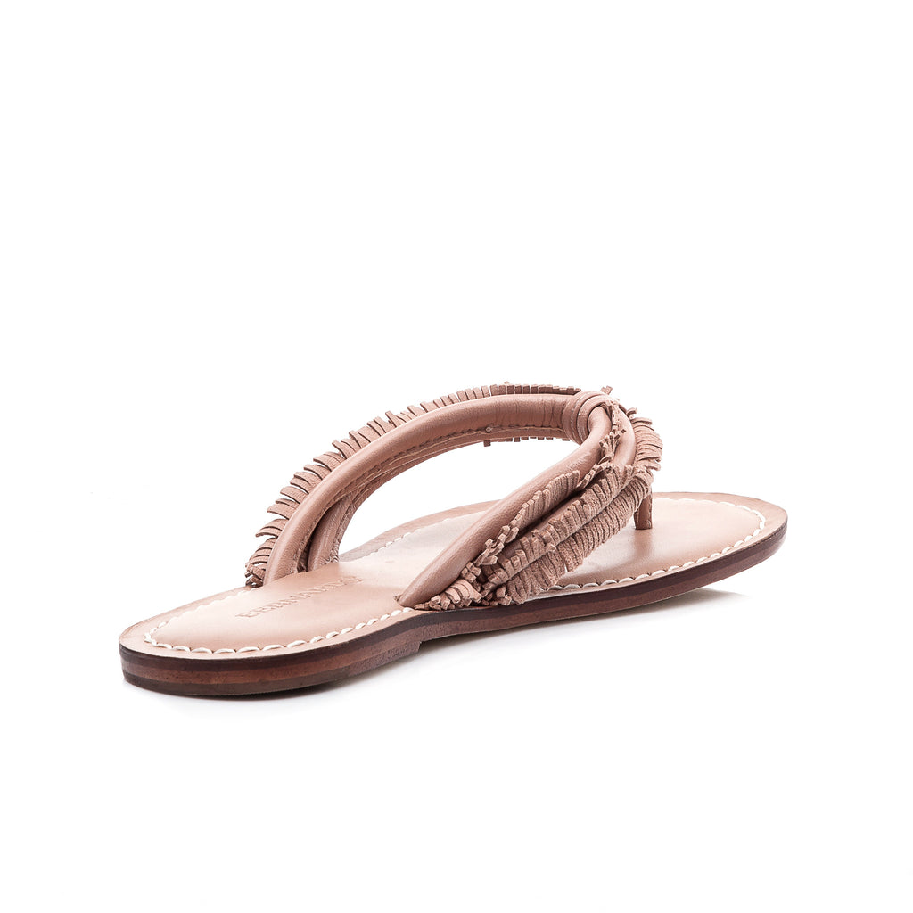 Bernardo Miami Fringe Flip Flop Sandal in Blush Pink Leather + Suede