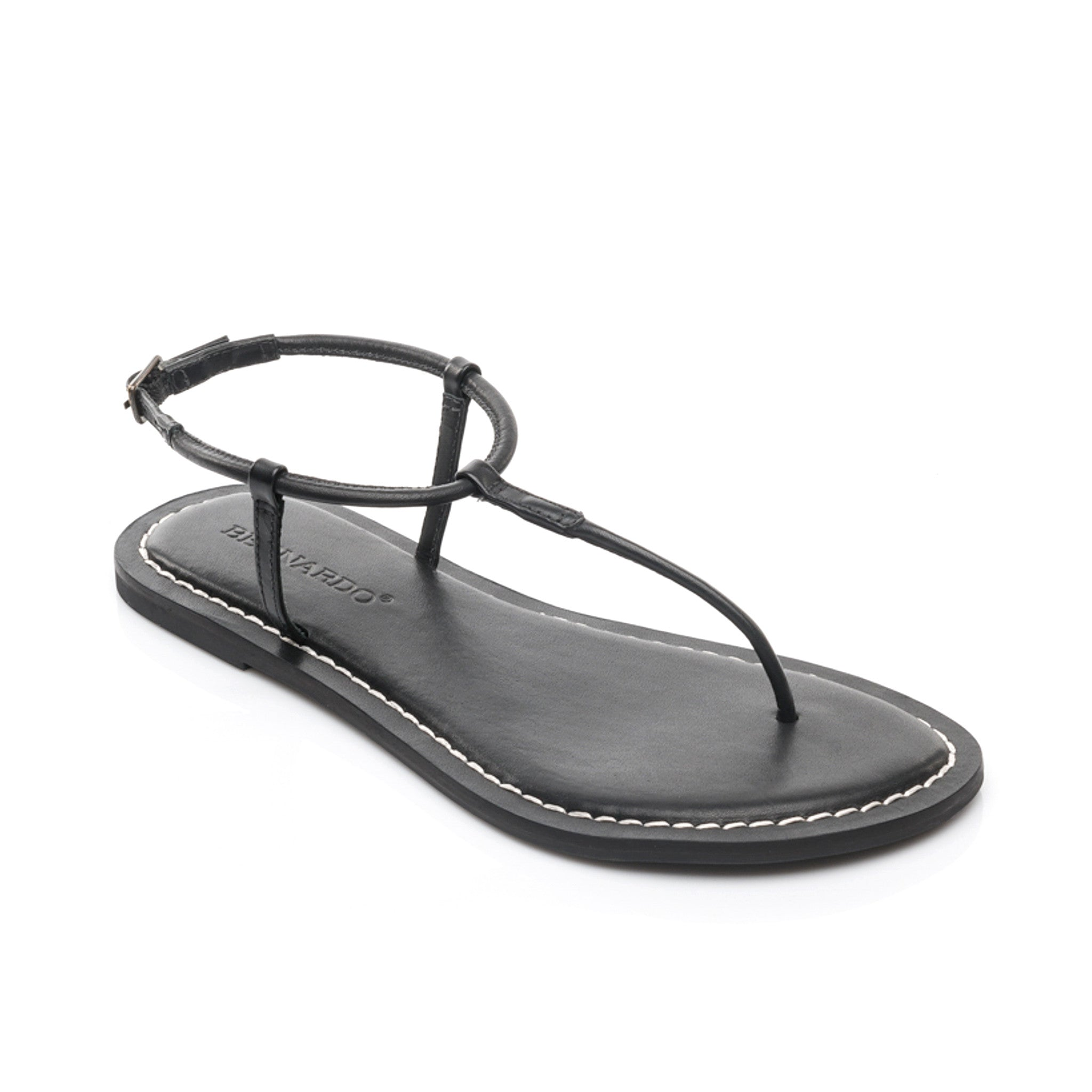 Lilly T-Strap Sandal in Black Leather