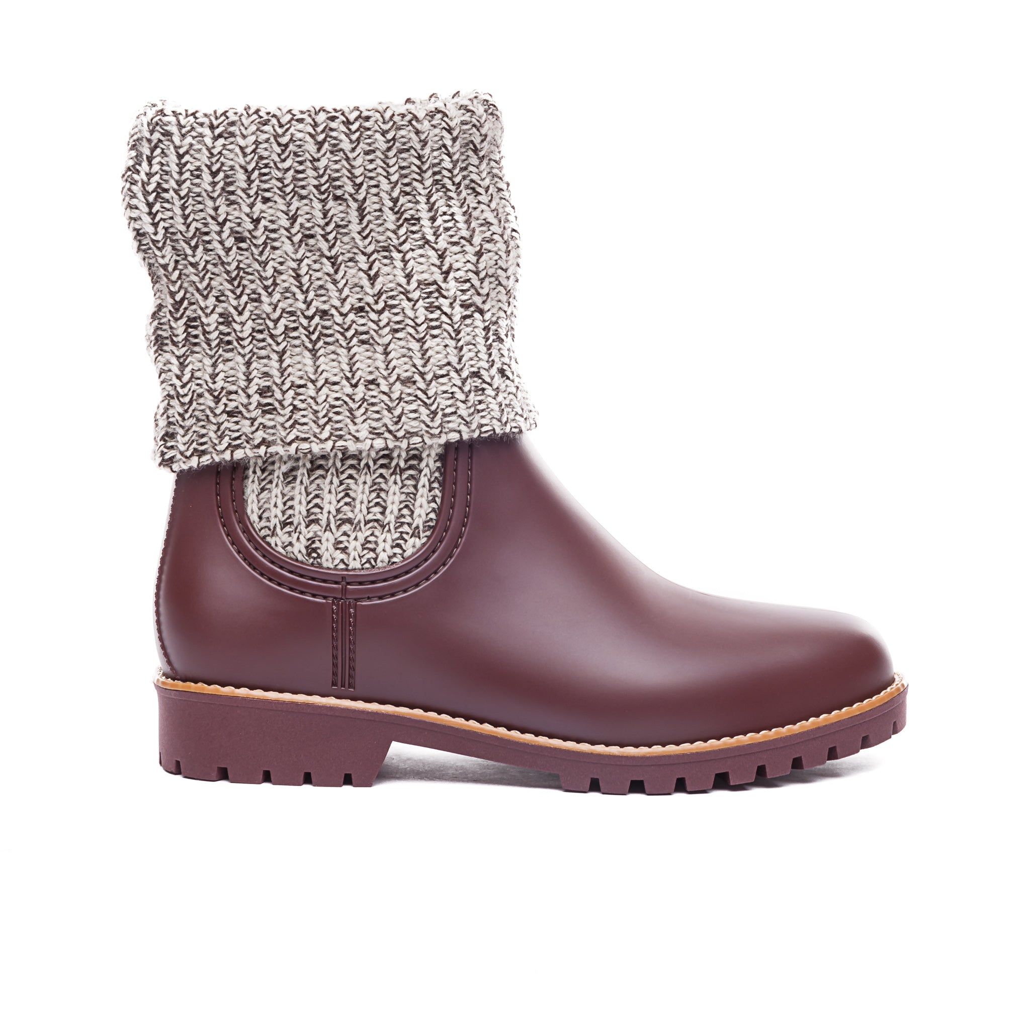 Zurich Rain Boot with Knit Detail in Hot Chocolate