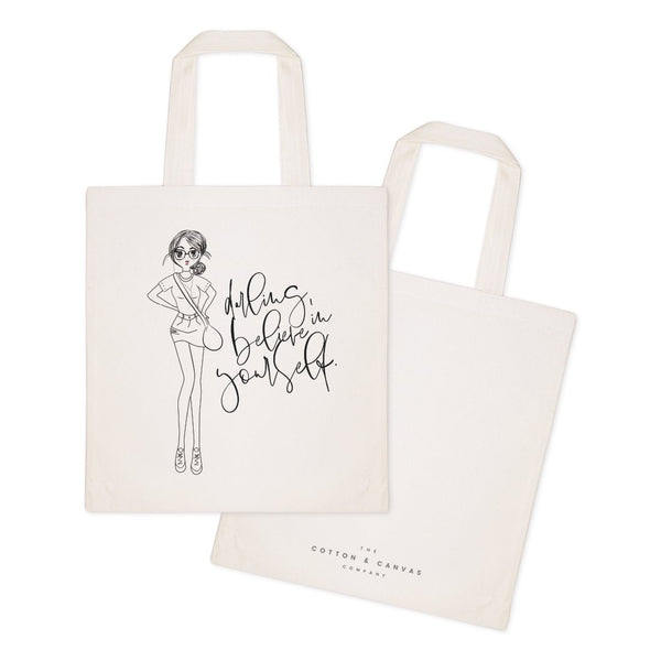 Darling, Believe in Yourself Cotton Canvas Tote Bag - Jade & Harlow