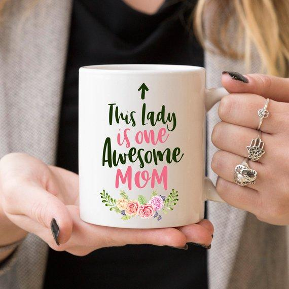 This Lady Is One Awesome Mom | Ceramic Coffee Mug - Jade & Harlow