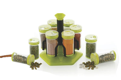 N06 Multipurpose Revolving Plastic Spice Rack, 6 Piece Condiment Set 125 ml Round Shap Spice Rack, Spice Rack Container