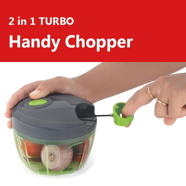N02 2in1 Handy Mini Chopper Vegetable & Fruit Chopper (1 Chopper) (Red & Grey)