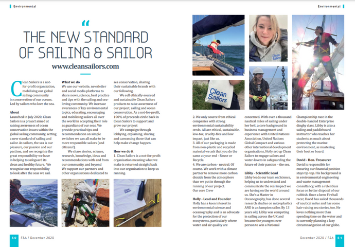 Clean Sailors featured in Fore & Aft