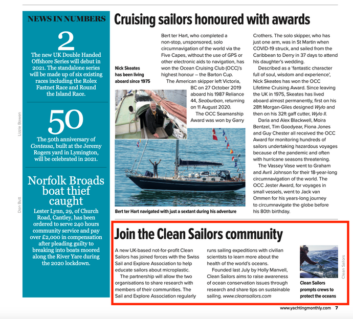'Join the Clean Sailors community' - Yachting Monthly
