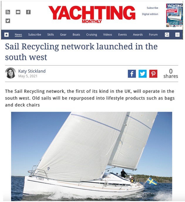 Yachting Monthly covers launch of Clean Sailors' Sail Recycling Network