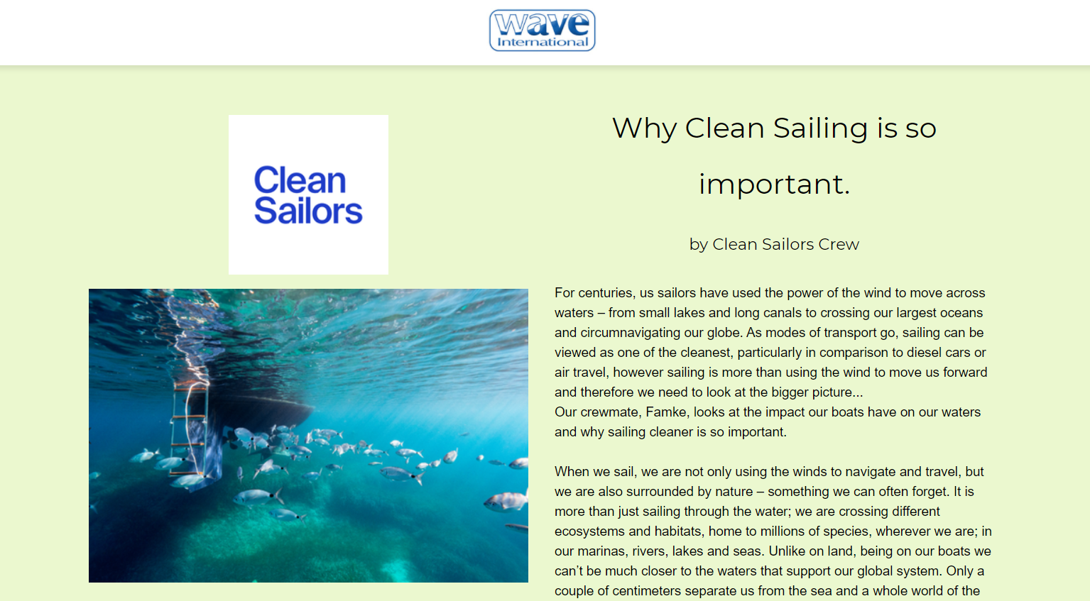Clean Sailors on Wave International
