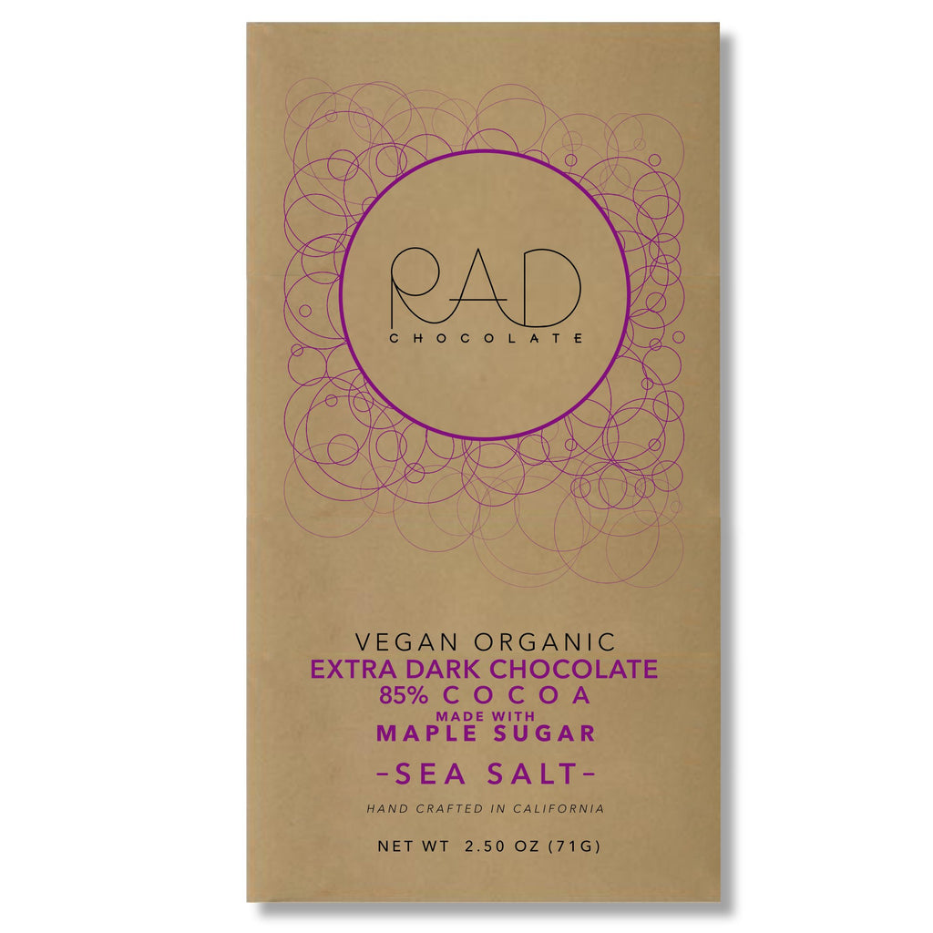 Organic Vegan Extra Dark 85% Cocoa Chocolate Maple Sugar Hint Sea Salt - Rad Chocolate