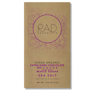 3 pack | Organic Vegan Extra Dark 85% Cocoa Chocolate Maple Sugar Hint Sea Salt - Rad Chocolate