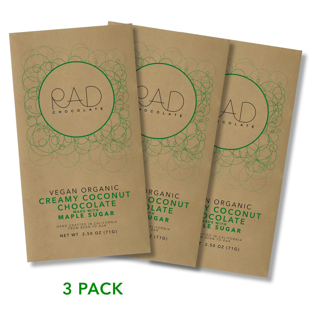 3 pack | Creamy Coconut Organic Dark Chocolate - Rad Chocolate