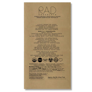 Creamy Coconut Organic Dark Chocolate - Rad Chocolate