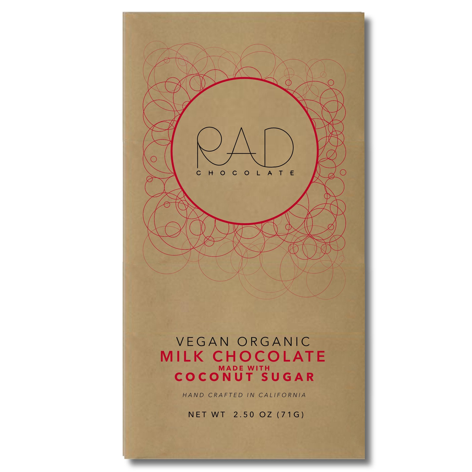 3 pack | Organic Vegan Milk Chocolate Coconut Sugar - Rad Chocolate