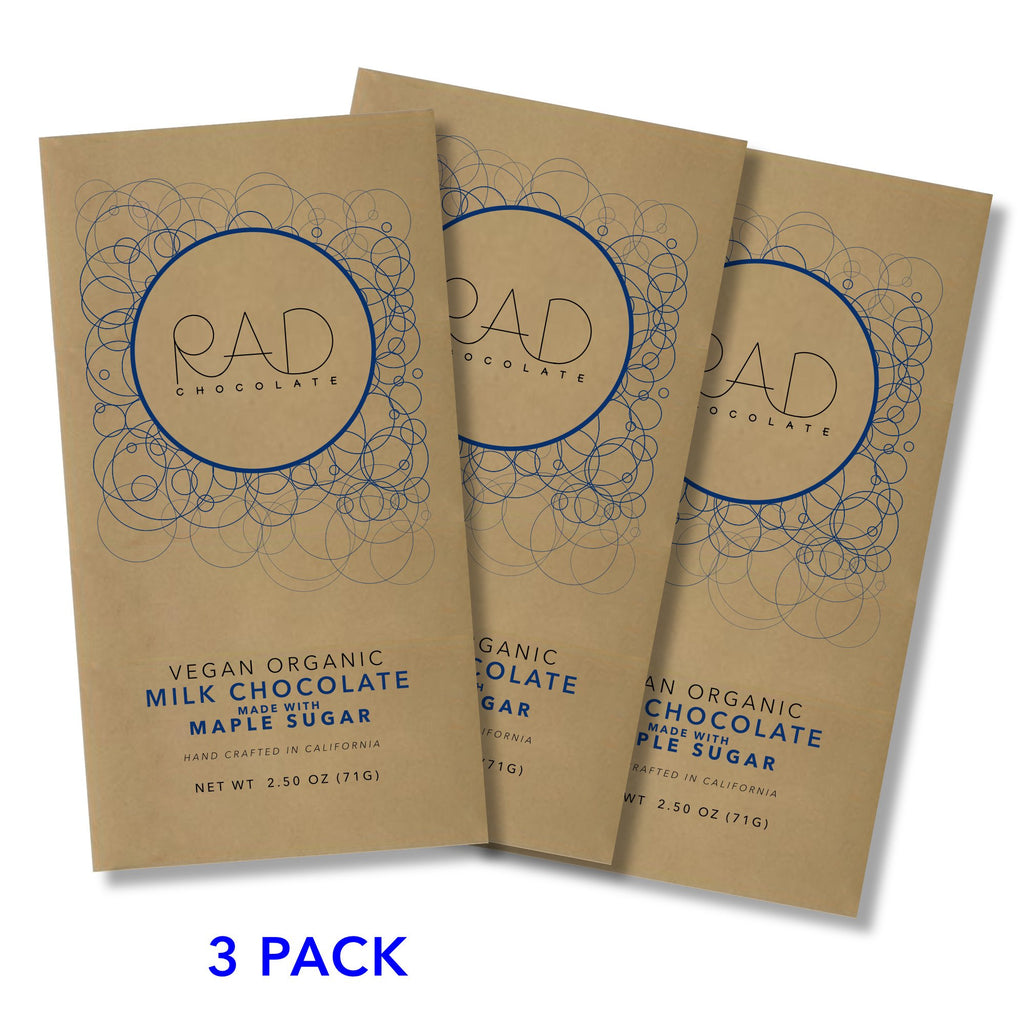 3 pack | Organic Vegan Milk Chocolate Maple Sugar - Rad Chocolate