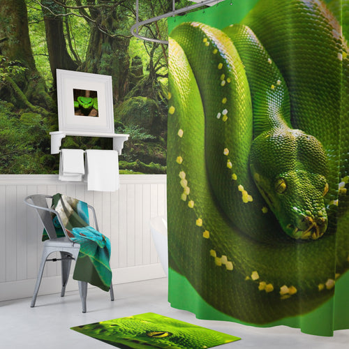 🐍 Green Tree Python Shower Curtain - Kinky'z Collectionz