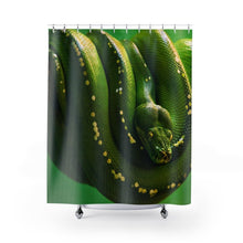 Load image into Gallery viewer, 🐍 Green Tree Python Shower Curtain - Kinky'z Collectionz