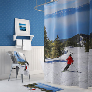 ⛷️ Lake Tahoe Skier Shower Curtain - Kinky'z Collectionz