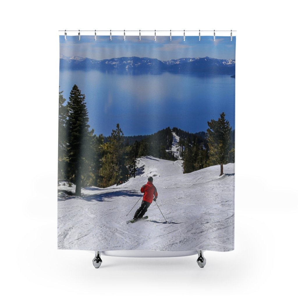 ⛷️ Lake Tahoe Skier Shower Curtain ⛷️ - Kinky'z Collectionz