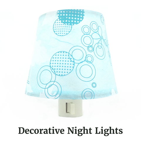 Blue Retro Night Light featuring Teal Blue Circles and Polka-Dots on a transluscent turqoise paper, by The Orange Chair Studio