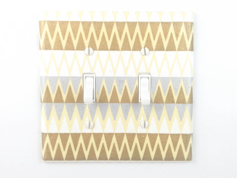 Silver and Gold Double Switch Plate handcrafted with a geometric patterned decorative paper by The Orange Chair Studio.