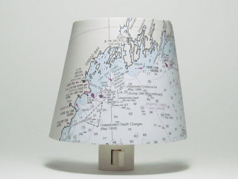 Casco Bay, ME Nautical Chart Night Light