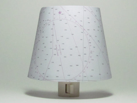White Nautical Chart Night Light with Compass Rose