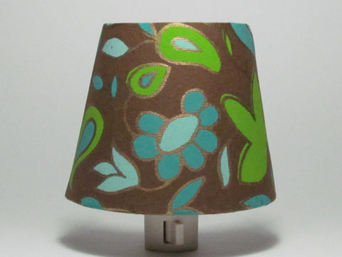 Turquoise and Brown Flower Night Light