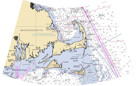 Nautical Chart Night Light - Massachusetts