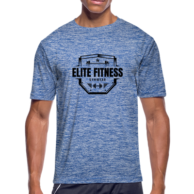 "Men's ""Elite Fitness Gymwear"" Moisture Wicking Performance T-Shirt - heather blue"