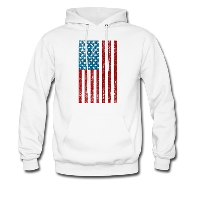 "Men's ""Distressed American Flag"" Hoodie - white"