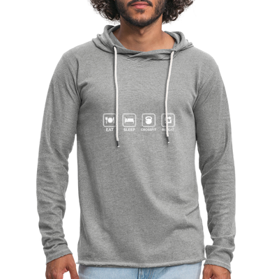 "Men's ""Eat Sleep Crossfit Repeat"" Lightweight Workout Hoodie - heather gray"