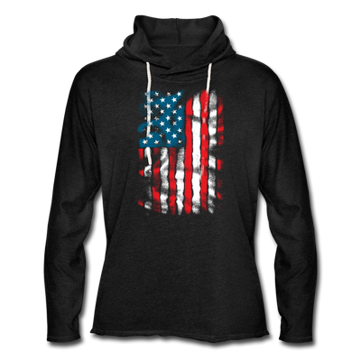 "Men's ""Vintage Flag"" Lightweight Workout Hoodie - charcoal gray"