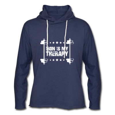 "Men's ""Iron Is My Therapy"" Lightweight Workout Hoodie - heather navy"