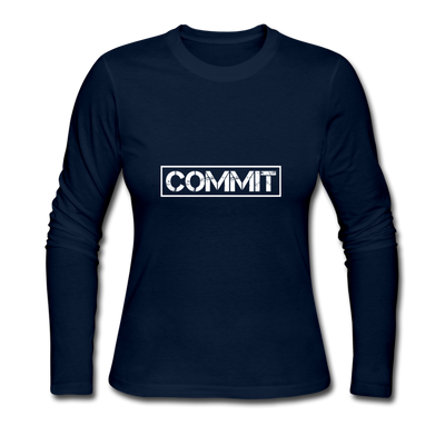 "Women's ""Commit"" Long Sleeve T-Shirt - navy"