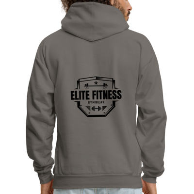 Men's Elite Fitness Back Logo Hoodie - asphalt gray